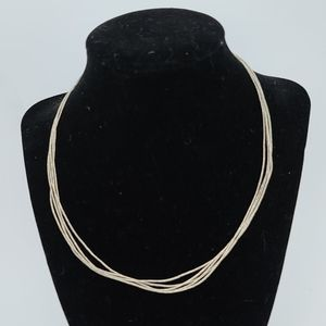 Sterling silver woven  multi rows necklace